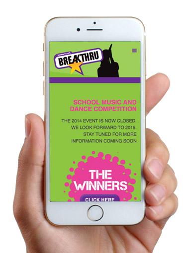 Breakthru mobile homepage